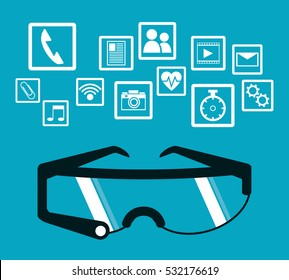 smart glasses wearable technology blue background