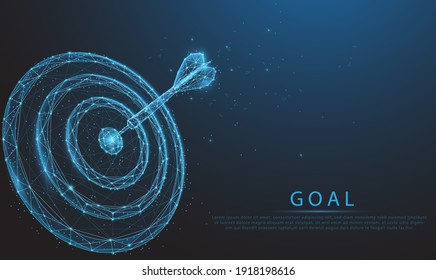 Smart goal setting, dart hit the center of dartboard glowing blue. Low polygon, particle, and triangle style design.Wireframe light connection structure.