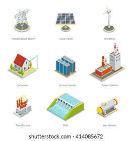 Smart grid elements. Power items set. Energy and electricity, transmission tower, solar panel, windmill and consumer house, control centre, station. Vector illustration