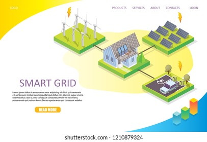 Smart grid network landing page website template. Vector isometric illustration. Wind and solar power renewable energy, smart grid technology concept.