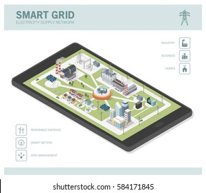 Smart grid network, power supply and renewable resources infographic with isometric buildings on a smartphone