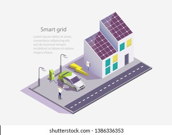 Smart grid vector web banner template. Isometric green eco friendly house with solar panels, electric car charging station, man using mobile phone. Renewable energy and smart grid technology concept.
