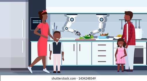 smart handy chef robot cutting cucumber on board robotic assistant innovation technology artificial intelligence concept happy family standing together modern kitchen interior flat horizontal