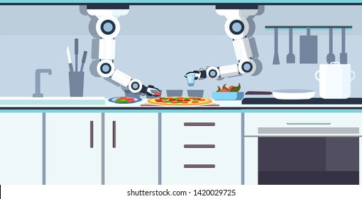 smart handy chef robot preparing tasty pizza robotic assistant innovation technology artificial intelligence concept modern kitchen interior flat horizontal