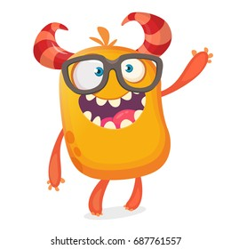 Smart happy cartoon monster character wearing eyeglasses. Halloween vector orange and horned monster. Design for emblem, logo or sticker