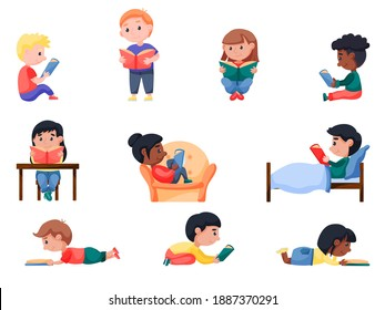 Smart happy little kids enjoys reading books and studying set. Cute girl and boy reader, young literature fans learning at home or school library. Vector illustration isolated on white background