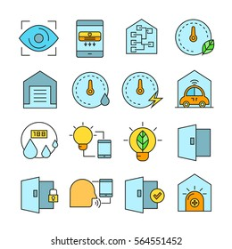 smart home and home automation icons color style