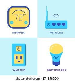 Icons für intelligente Heimautomation im flachen Stil. Klima-Steuerung, WiFi-Router, Sockel und Glühbirnen Symbole. Vector-Abbildung.