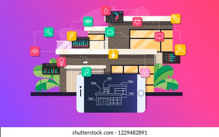 Smart home automation and internet of things illustration with icons of house and appliances connected, flat style