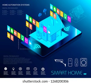 Smart home automation and internet of things illustration with icons of house and appliances connected