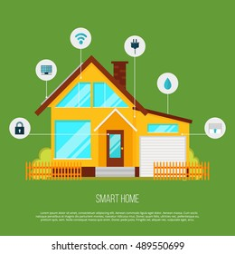Smart home automation system. Smart house technology system with centralized control from your watch, computer, mobile phone and tablet. Internet of things.Vector illustration with technology icons.