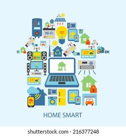 Smart home automation technology decorative icons set vector illustration