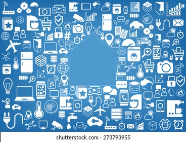 Smart home automation vector background. Icons / symbols for various devices and sensors. Light blue and white color scheme.