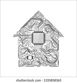 Smart Home Concept. Circuit House with CPU. Future Technology Background. Vector Illustration