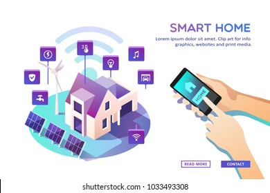 Smart home. Concept of house technology system with wireless centralized control. Isometric vector illustration.