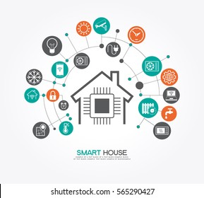 Smart home control concept. Smart house infographic. Concept home with technology system. Flat design style vector illustration. The file is saved in the version 10 EPS.