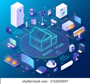 Smart home controlled from smartphone, 3D icons vector. Internet technology and home automation system. Wireless connection, house electronics devices and appliances remote control, isometric