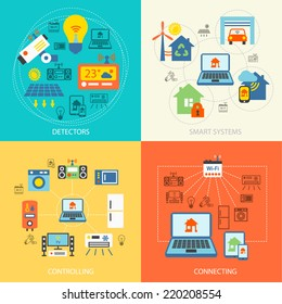 Smart home detectors controlling connecting systems icons flat set isolated vector illustration