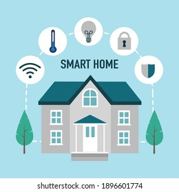 Smart home with device control icon concept vector illustration. Intelligent technology for house.