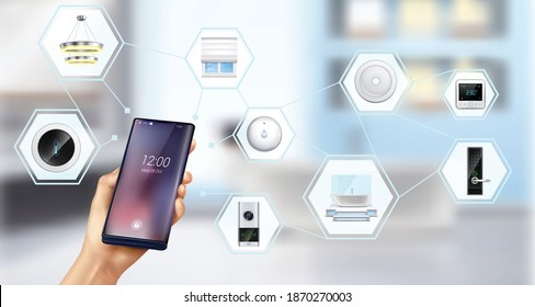 Smart home devices climate security control hand holding smartphone realistic schema against fuzzy interior background vector illustration