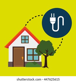 smart home with electric plug isolated icon design, vector illustration  graphic