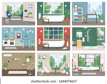Smart home flat color vector illustrations set. Automated kitchen, bathroom and living room 2D cartoon interior. Internet of things, technologies in everyday life. Intelligent domestic appliances