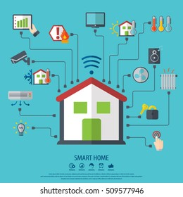 Smart home. Flat design style vector illustration concept of smart house technology system with centralized control.