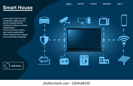 Smart home flowchart vector icon. Internet of things illustration.