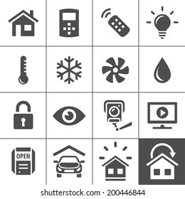 Smart Home and Smart House Icons. Home automation control systems. Simplus series vector icons