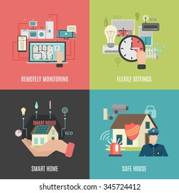 Smart home household devices remote control flexible settings 4 flat icons square composition banner abstract vector illustration