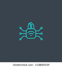 Smart home hub concept blue line icon. Simple thin element on dark background. Smart home hub concept outline symbol design from Smart home set. Can be used for web and mobile UI/UX