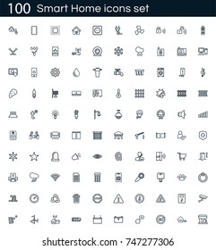 Smart home icon set with 100 vector pictograms. Simple outline icons isolated on a white background. Good for apps and web sites.