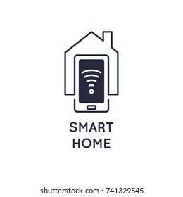 Smart home icon Vector modern illustration, concept for the organization of electronic devices. Emblem sign Wi-Fi.