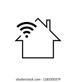 Smart home icon with wireless connection symbol and a house.