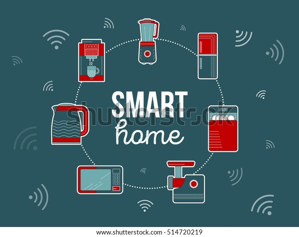 Smart Home Illustration Kitchen Smart Electronics Stock Vector Royalty Free 514720219