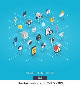 Smart home integrated 3d web icons. Digital network isometric interact concept. Connected graphic design dot line system. Abstract technology background for automation house security. Vector Infograph