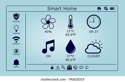 Smart home interface vector on blue background
