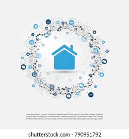 Smart Home, Internet of Things or Cloud Computing Design Concept with Icons - Digital Network Connections, Technology Background