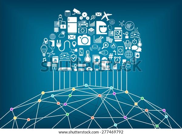 Smart Home Internet Things Concept Cloud เวกเตอร์สต็อก (ปลอดค่า