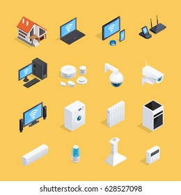 Smart home internet of things iot isometric icons set with computer house conditioner background isolated vector illustration