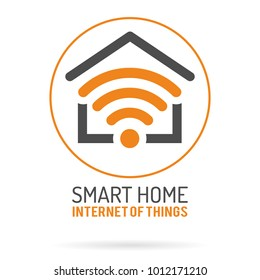 Smart Home and Internet of Things Logo. Smart House with WiFi Logotype. Flat style icons. Isolated Vector Illustration