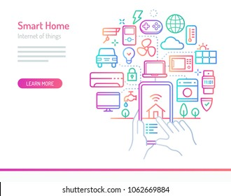 Smart Home (IoT) conceptual illustration. Electronic devices such as washing machines, air conditioner, oven, computer, solar cell etc. connected and controlled from mobile device..