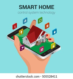Smart home iot internet of things control comfort and security. Hand holding mobile phone or tablet controls smart home utilities power efficiency technology. Flat 3d isometric vector illustration.