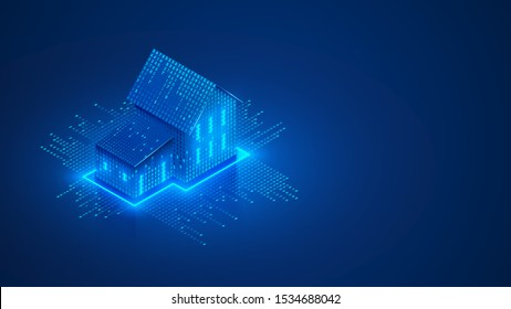 Smart home isometric concept. Private house consists digits code. Cyber Safety of internet of things of country house. Digital protection of smart home system. IOT Technology banner or background.