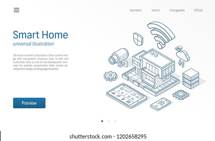 Smart Home isometric line illustration. Technology house, control cctv network, modern architecture building business sketch drawn icons. Abstract 3d vector background. Automation system, iot concept.