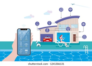 Smart home isometric vector illustration concept. Hand holding a smart phone with home automation assistant controlled. On the background a modern house with wireless centralized control.