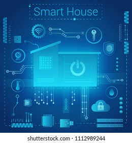 Smart home modern absract light style concept. Smart home in microchip pathways futuristic background. Internet of things IOT technology.
