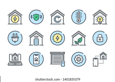 Smart Home related color line icon set. Home systems colorful linear icons. Smart home navigation flat color outline vector signs and symbols collection.