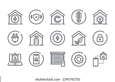Smart Home related line icon set. Home systems linear icons. Smart home navigation outline vector signs and symbols collection.