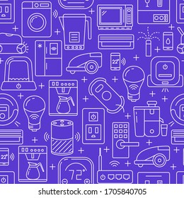 Smart home seamless pattern in line style. Repeating background with automated things contour icons. Vector illustration.